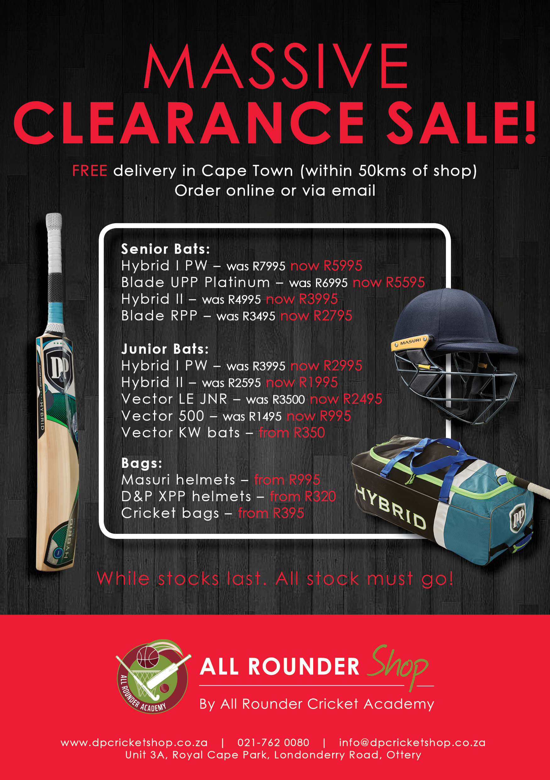D&P Cricket Clearance Sale